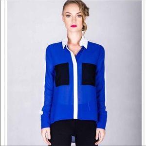 Blue White Color Block Faux Button Up Hi Lo Blouse